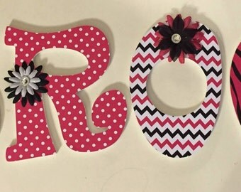 pink and black girls wall letters, baby nursery letters, jungle letters, Brooklyn, wood letters, hanging wall letters, decorative letters
