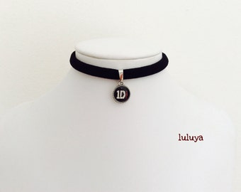 Black Handmade Stretch Choker Necklace Dainty Pendant 1D One Direction  Charm Gift Birthday Favor