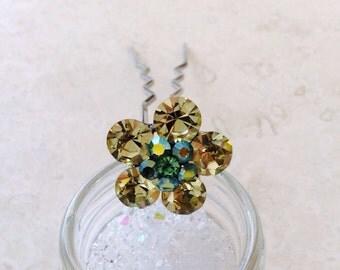 Yellow Green  Crystal Flower Shape Metal Hair Pin Stick Bridal Headpiece Wedding Gift