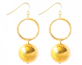 Gold Ball Earrings, Dainty Earrings, Gold Dangle Earrings