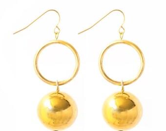 Gold Ball Earrings, Dainty Earrings, Gold Dangle Earrings