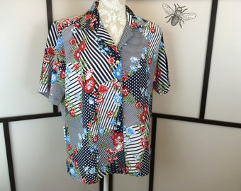 Striped Floral Blouse, Vintage Blouse, Red White and Blue, Donnkenny, Patriotic Blouse, Button Down, Summer Top, Size Medium or Large