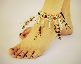 Handmade Feather Anklet, Tribal Fashion Accessory