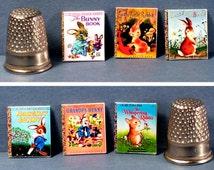 Bunny Rabbits - 6 Little Golden Books - Doll House Miniature - 1:12 Scale - Naughty Bunny, Whispering Rabbit, Grandpa Bunny, more...