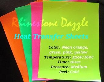 Heat transfer Neon vinyl sheets, Fluorescent Transfer vinyl sheets, Iron on heat transfer, Neon Pink, Neon Green, Neon Orange, Neon Yellow