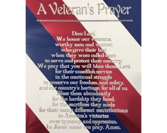 "A Veteran's Prayer - Patriotic Tri-color Veteran's Engraving, 8"" x 10"""