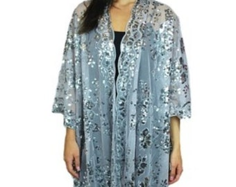 Womens Mother of the Bride Beaded Fashion Shawl Tunic Poncho Cover One Size Top