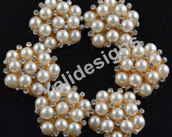 Set of 10pcs 22mm Crystal Pearl Flower Brooch- Children Headbands or Hair Clips-YTB76