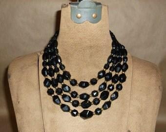 Vintage Black Four String Facet Bead Necklace