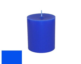 3 x 3.5 Blue Classic Hand-poured Unscented Pillar Candles Solid Color