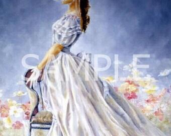 Fabric Art Quilt Block  - Romantic Blue Beauty  - 8973- FREE Shipping