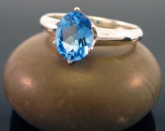 swiss blue topaz ring, Blue topaz ring - size 10, sterling silver topaz ring - December Birthstone Ring, swiss topaz ring, ring topaz