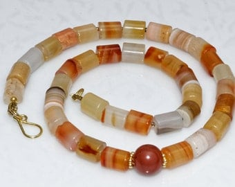 Women's Ethnic Necklace, Carnelian Necklace, Antique Africa Trade Bead, Birthstone Juli, Zodiac Aries Taurus, Gift for Christmas Anniversary