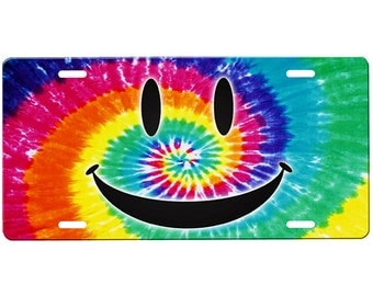 Tie Dye Smiley Face License Plate