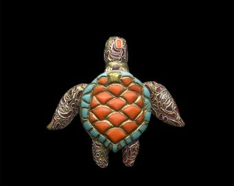 """Brooch """"Coral reef tortoise"""" with filigree and enamel imitation"""