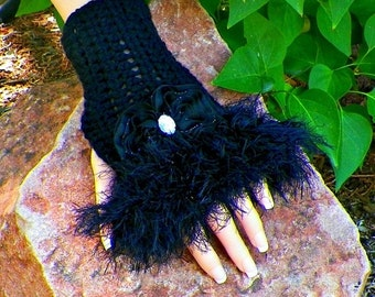 On Sale- Black  Fingerless Gloves Gothic Faux Fur Steampunk Texting Crochet  Victorian Mittens With Crystal Bows