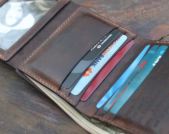 Mens  Personalized  Handmade Leather Wallet ,Perfect Gift for Him , Boyfriend Gift, Birthday Gift ,Third Anniversary, Brown Leather Wallet