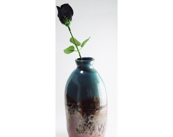"""Blue & Copper colored 7 inch tall Vase \ 20 oz ounce Bottle \ Jug, """"Summer Sunset"""", wheel thrown ceramic pottery"""