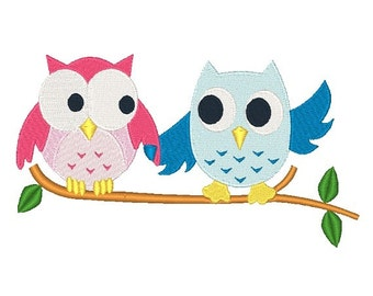 Owls Machine Embroidery Design 023014 Owl Embroidery Filled stitch 4X4 5X7 8X8 6X10 Instant download
