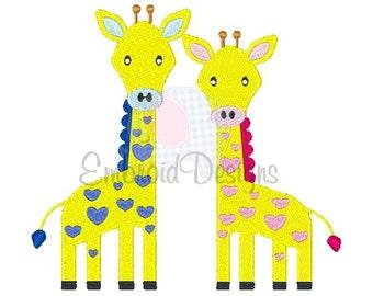 Giraffes Machine Embroidery Design 025314 Safari Animal Design Filled stitch 4X4 5X7 8X8 6X10 Instant download