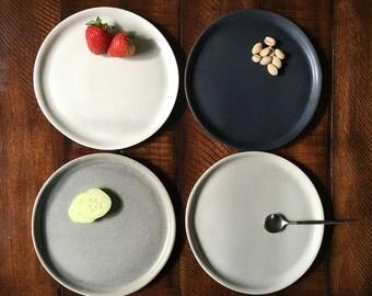 Set of Four Handmade Porcelain Plates, Salad Plates, Appetizer Plates, Pottery Plates, Assorted Color Plates