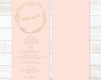 pink gold wedding menu, gold glitter wedding menu, gold wreath wedding menu, wedding menu printable, custom wedding menu