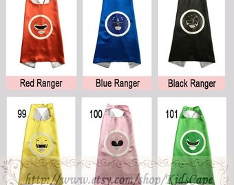 Power Rangers capes - Reversible capes - Kids Birthday Party Favors - boys and girls