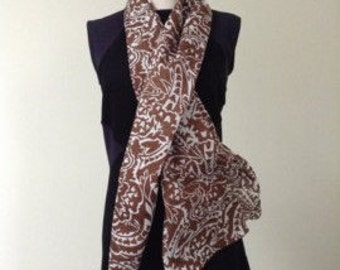 Cotton voile Scarf; Lightweight neck accessory; Ultra soft semi-sheer 100% cotton scarf; Handmade gift idea; Spring collection