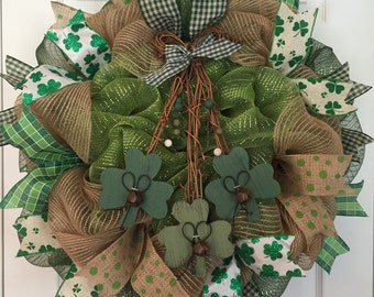 Limited quantities available! St. Patricks Day wreath, Four leaf clovers, burlap wreath, welcome wreath, st. Patricks day decor