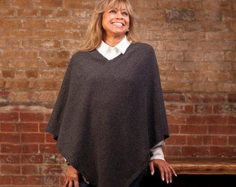 Charcoal Grey 100% Cashmere V neck Poncho