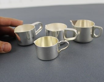 Small silver cup collection, Shot Glasses, Creamer, Vintage Barware