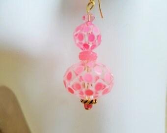 Pink Polka Dot Glass Drop Fashion Earring