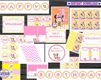 Baby Minnie First Birthday Party package, Baby, Minnie Mouse, Little Minnie, Birthday Party, Banner, Signs, Cupcake Toppers, Signs