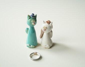 Wedding Cake Topper, Cat Cake Topper, Wedding Cake Decor, Cat Couple, Wedding Cake Decor, Ceramics and Pottery