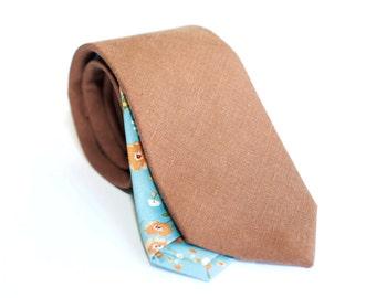 Brown linen tie, slim necktie