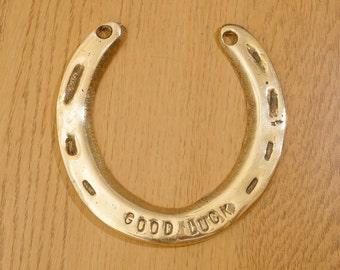 Horseshoe    vintage solid brass    good luck