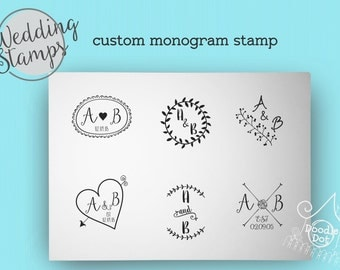 Wedding stamp Custom monogram stamp Wedding stamp Wedding stationery  Polymer stamp  Personalised stamp
