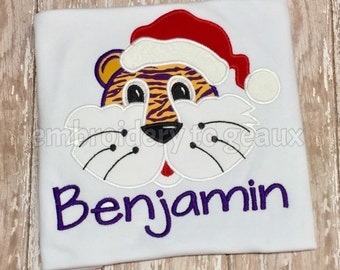 Boys Personalized Purple and Gold Tiger Santa T-Shirt or Bodysuit--Tiger Christmas Shirt-LSU Christmas Shirt for Boys--Boys Christmas Shirt