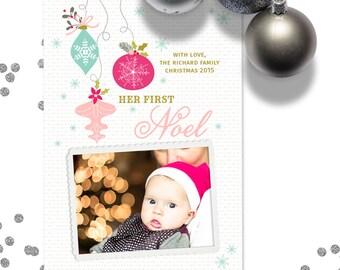 Christmas Card Template for Photographers, Template for Photoshop, Holiday card template, 5x7, Printable