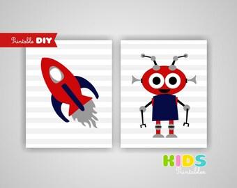 Printable DIY Nursery Prints, Rocket, Alien, Outer space, Set of 2, 8x10 jpg (other )