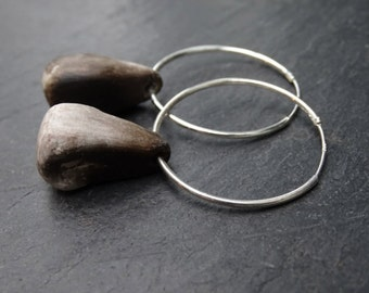 50% Off Smoked-fired Porcelain & 925 Sterling Silver Hoop Earrings. Unique, Rustic Design.