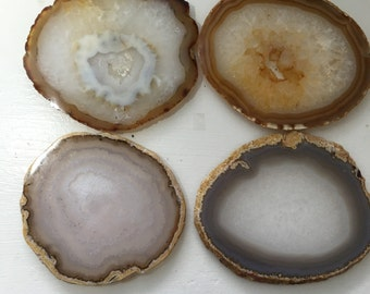 Medium  Size Natural Earth Tone Agate Coasters With Protector Pads