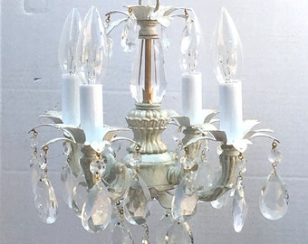 Shabby Chic Cottage Style Mini-mini Chandelier, perfect for a  girls bedroom room, closet or bathroom. custom made to order