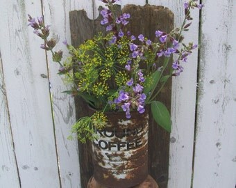 Coffee Can Vase, Vase, Weathered wood vase, Rustic vase, Barn wood vase, Upcycled vase, Recylcled vase