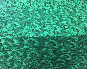 Green Royalty Leaf Design-embroider On A Black Mesh Lace Fabric-nightgown-prom-