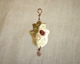 Good Luck Charm,New House Gift, Wall Hanging Brass Hamsa,Handmade Brass Hamsa, Home Blessing Hamsa,