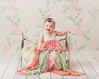 Spring Photography Backdrops Vinyl, Spring Photography Props, Floral Photography Background, Photography Backdrop Girls Pink Mint PTRN155