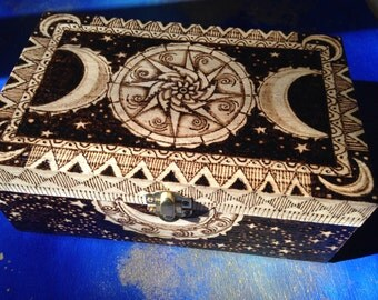 Cosmic Dance Woodburned Box
