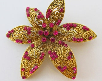 Vintage 1960s Gold Toned Fuchsia Floral Rhinestone Pin with Intricately Detailed Setting