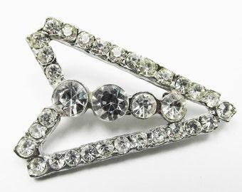 Unusual Vintage 1950s Silver Toned Arrow Shaped Clear Rhinestone Pin